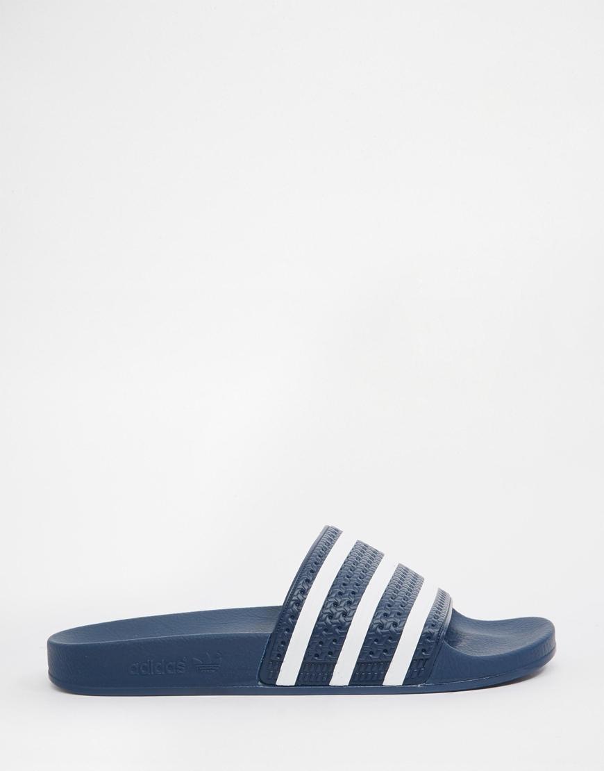 adidas originals adilette slider flip flops 288022 in blue. Black Bedroom Furniture Sets. Home Design Ideas