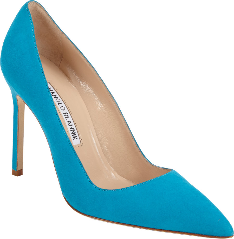 Manolo blahnik suede bb pumps in blue lyst for Who is manolo blahnik