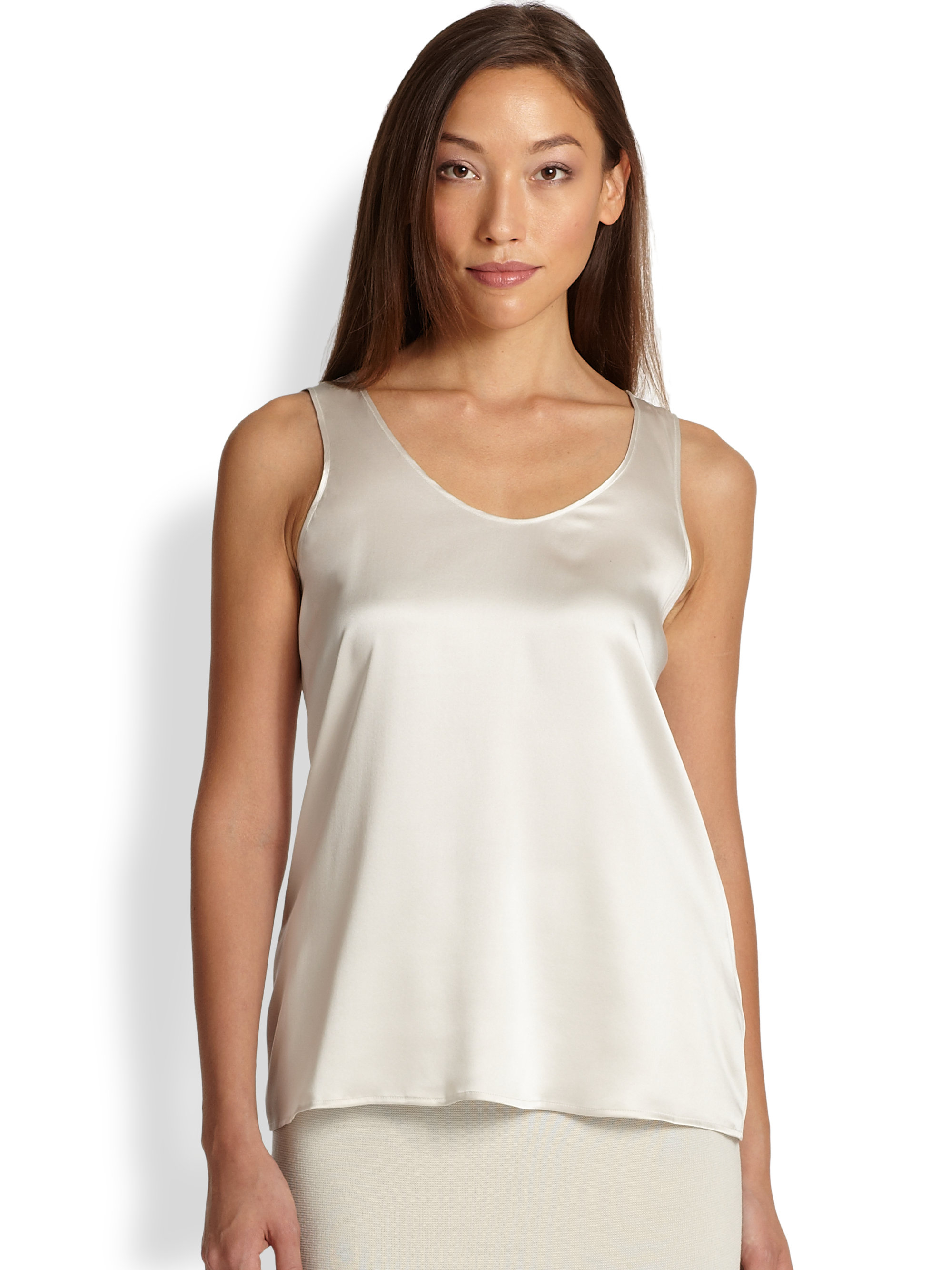 12dd521d9b9d67 Lyst - Eileen Fisher Silk Charmeuse Tank in Natural