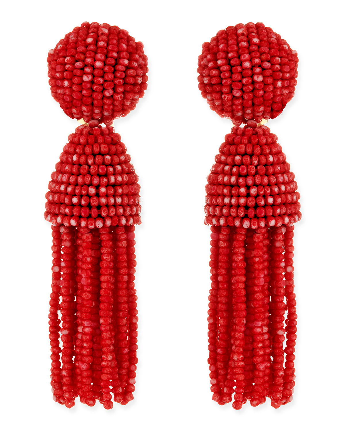 Oscar De La Renta Short Beaded Tassel Clip-On Earrings bG5rG