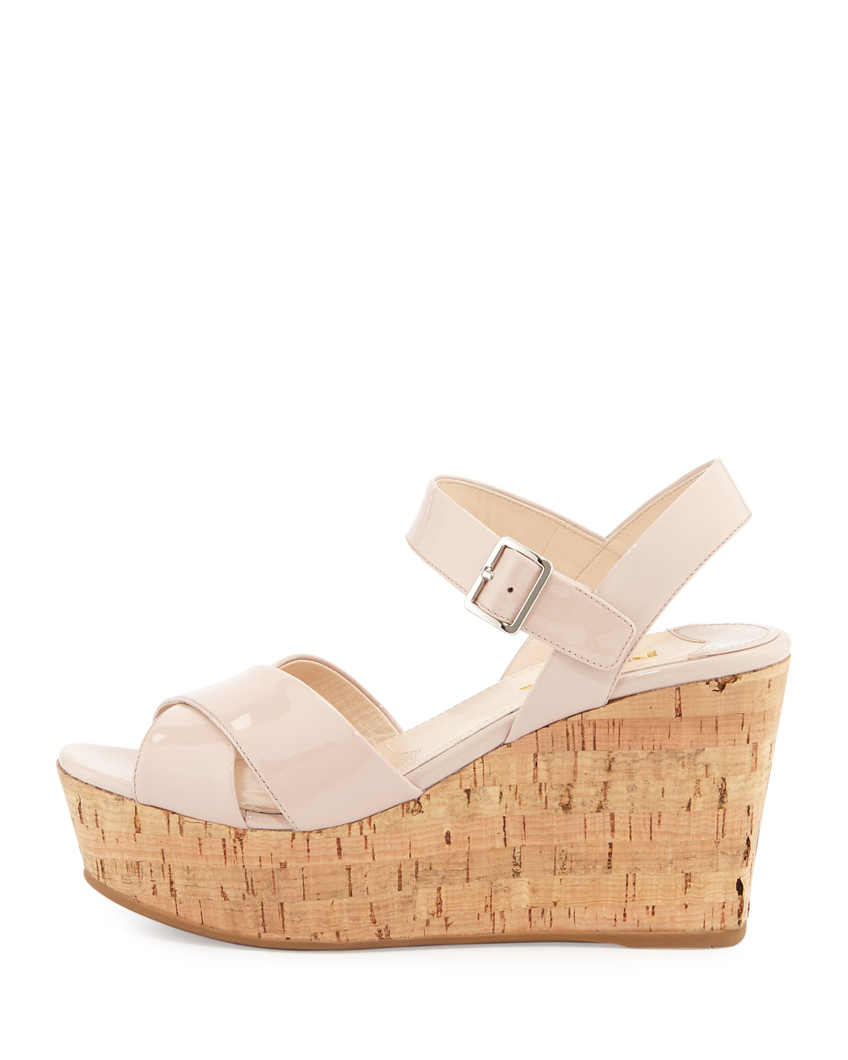 5a0393c7983 Lyst - Prada Patent Leather Cork Wedge Sandal in Natural
