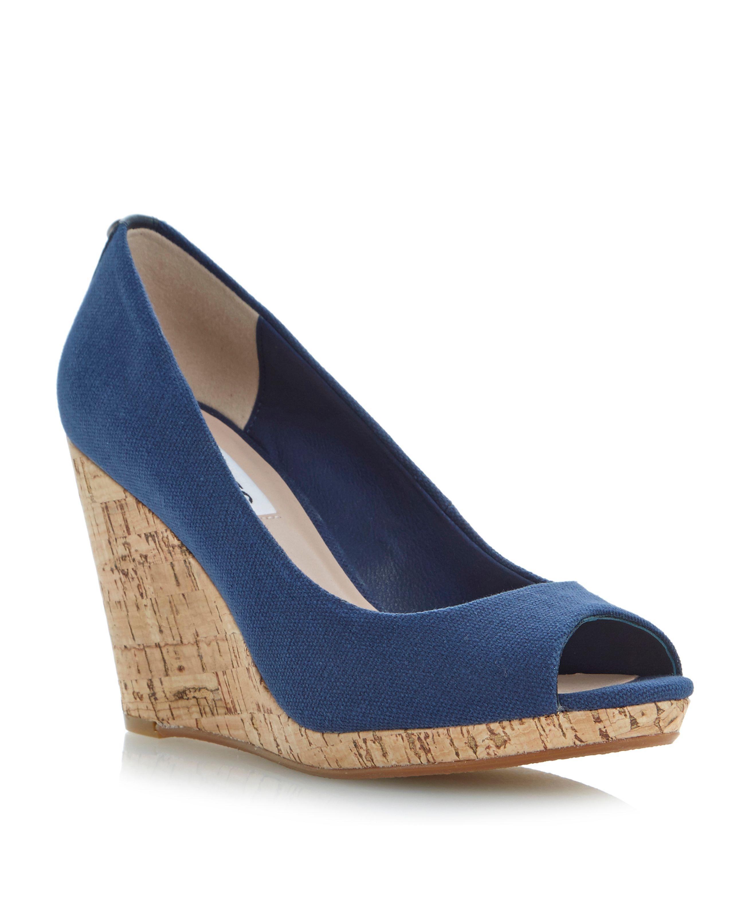 dune celia peeptoe wedge court shoes in blue navy lyst