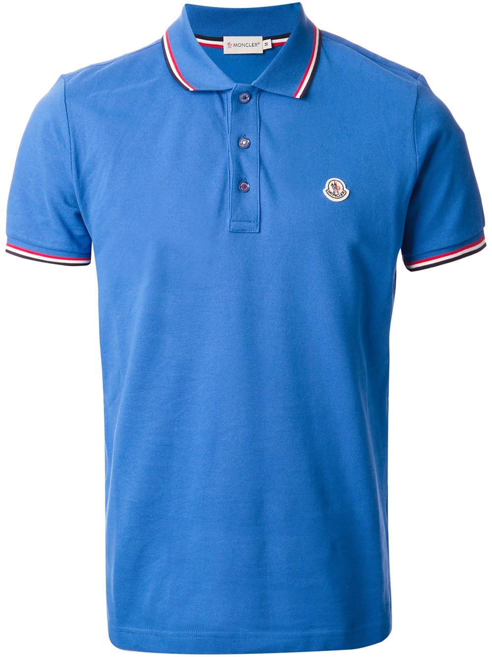 Moncler slim fit polo shirt in blue for men lyst for Mens slim fit polo shirt