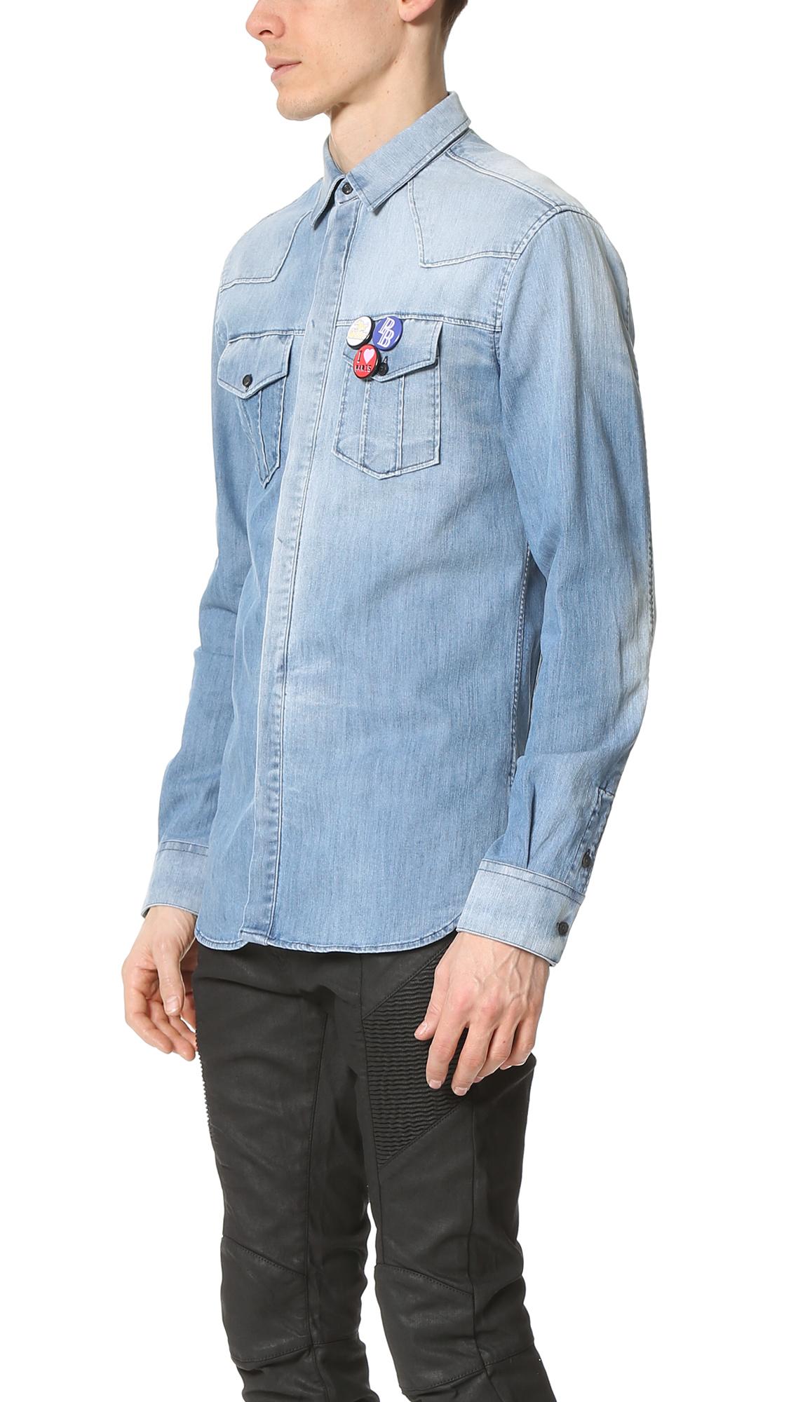 2d22e0d5d4 Lyst - Balmain Buttons Denim Shirt in Blue for Men