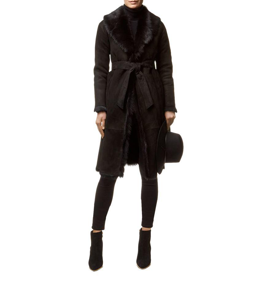 Reiss Biba Long Shearling Coat in Black | Lyst