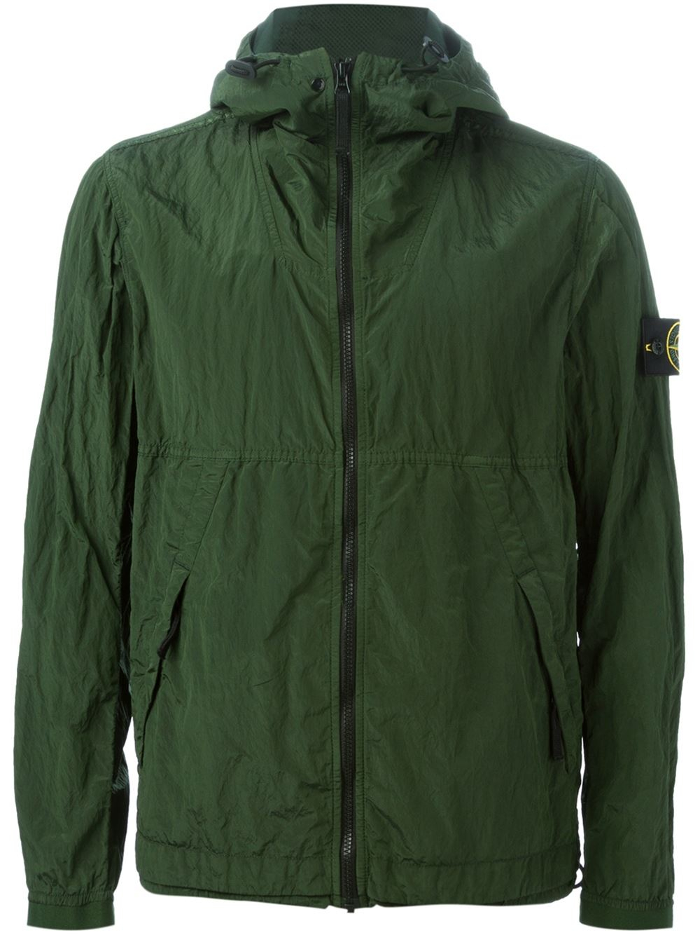 stone island hooded windbreaker jacket in green for men lyst. Black Bedroom Furniture Sets. Home Design Ideas