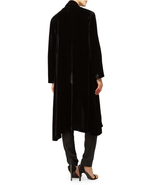 Eileen fisher Washable Velvet Kimono Jacket in Black | Lyst