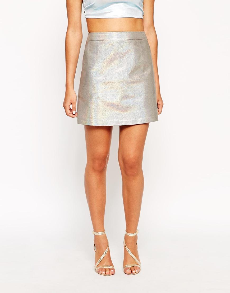 Sister jane Glitter A-line Mini Skirt in Metallic | Lyst