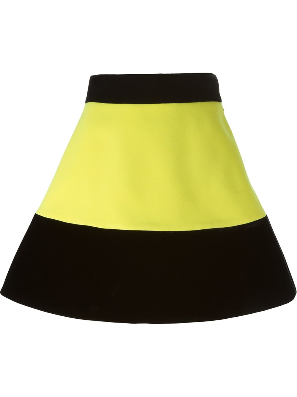 fausto puglisi colour block a line skirt in yellow lyst