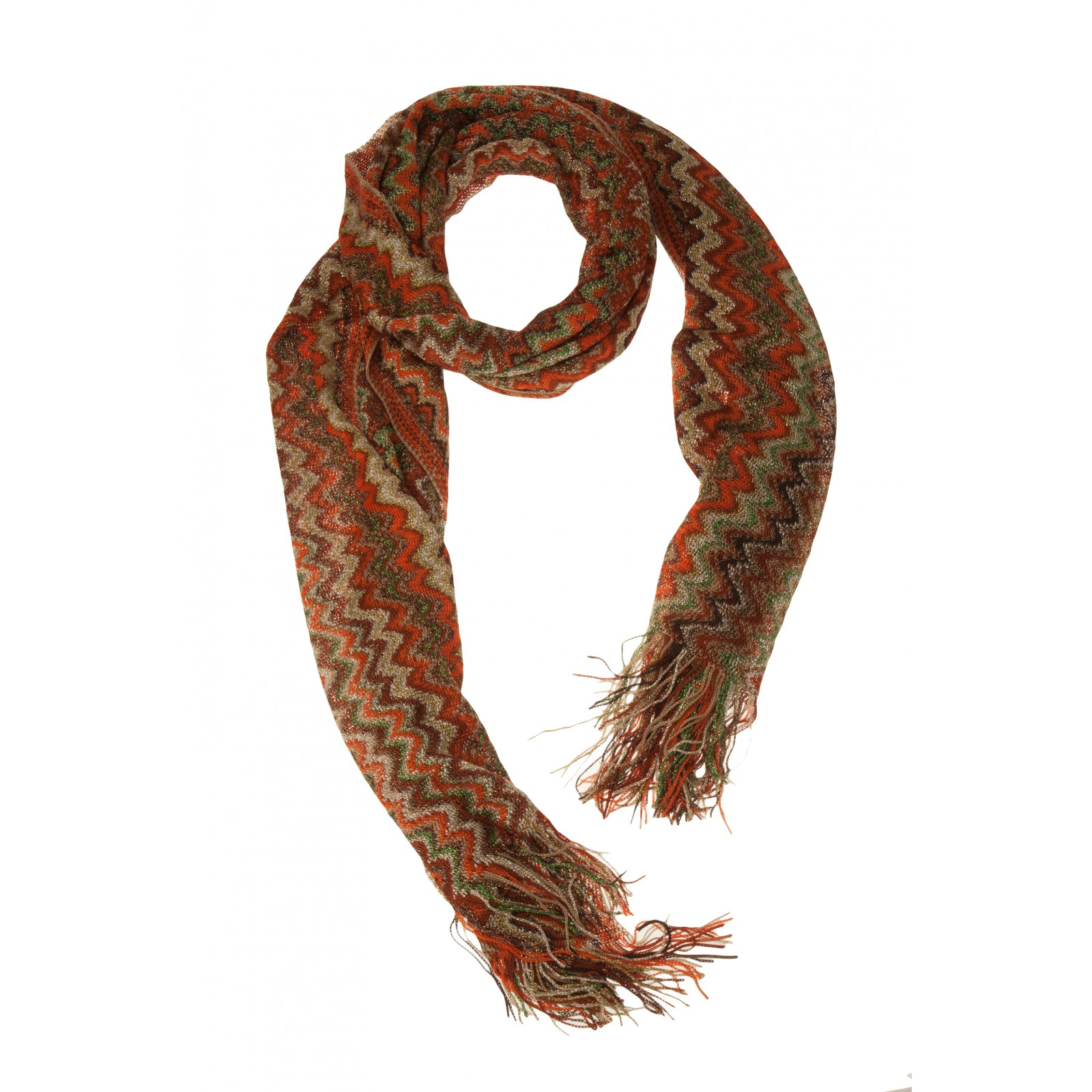missoni zig zag lurex scarf in brown grey lyst