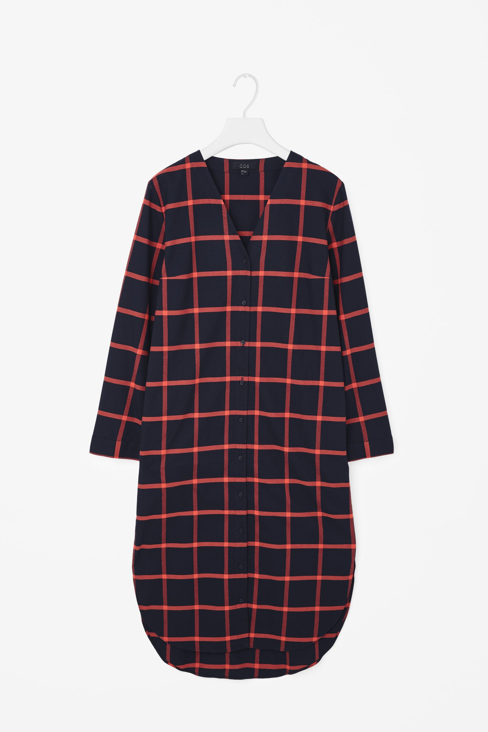Cos v neck checked shirt dress in blue navy red check for Navy blue checkered dress shirt