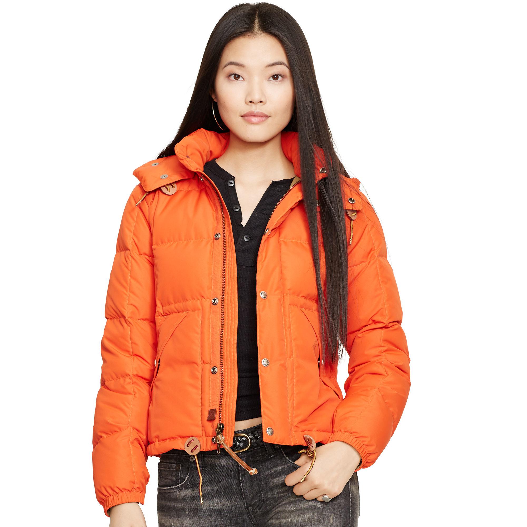 Polo ralph lauren Hooded Down Jacket in Orange
