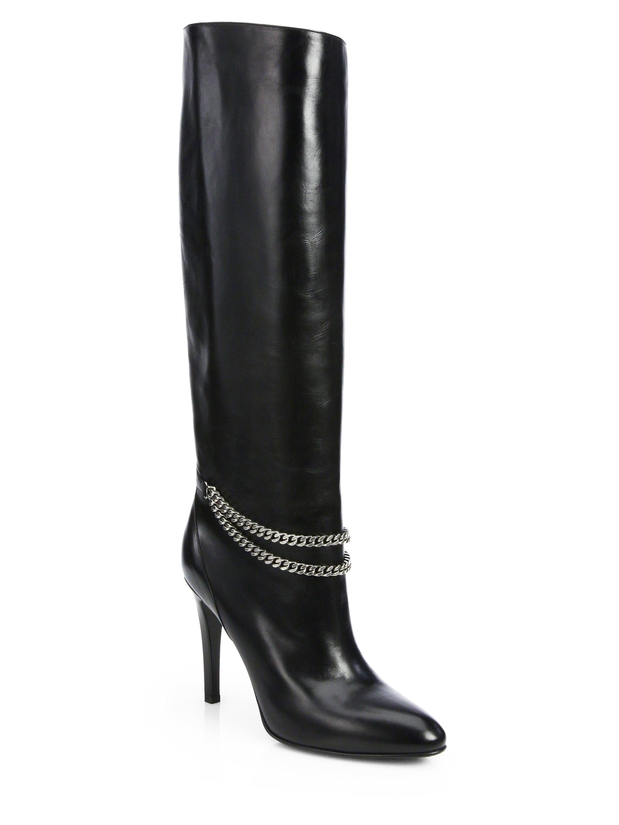168a6f368d5 Saint Laurent Debbie Chain-Detail Leather Knee-High Boots in Black ...