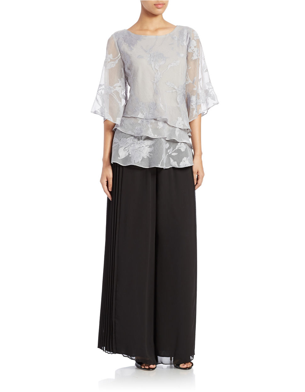 alex evenings silver tiered floral blouse product 1 503760254 normal
