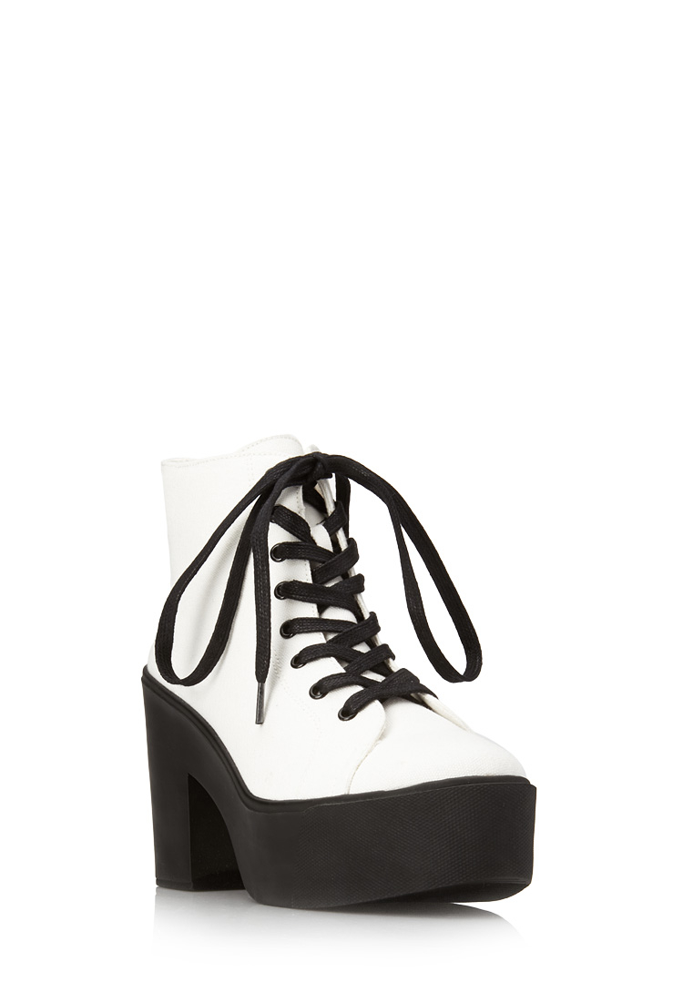 a1b875f1c2e Lyst - Forever 21 Standout Canvas Booties in White