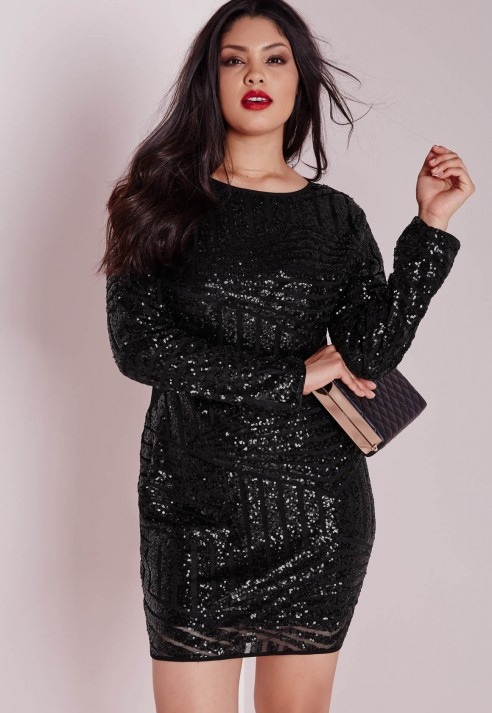 Lyst Missguided Plus Size Sequin Mesh Mini Dress Black In Black