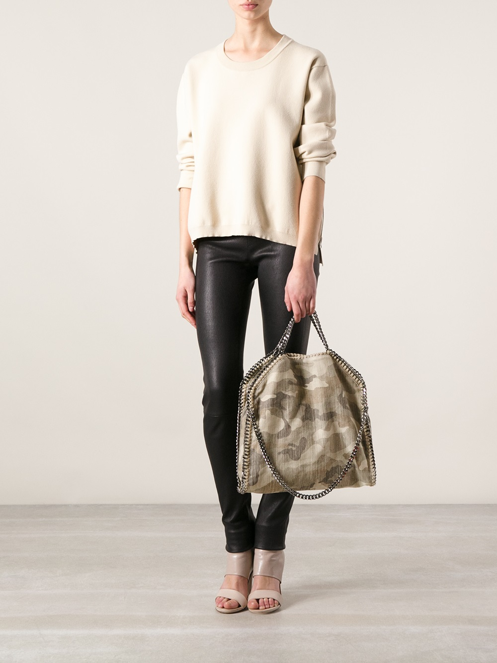 Lyst - Stella Mccartney Falabella Large Foldover Tote in Natural 201fa640792a