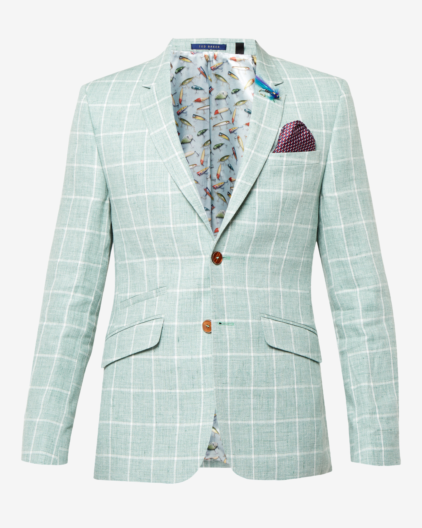 e9afb6864 Lyst - Ted Baker Tight Lines Checked Linen Jacket in Blue for Men