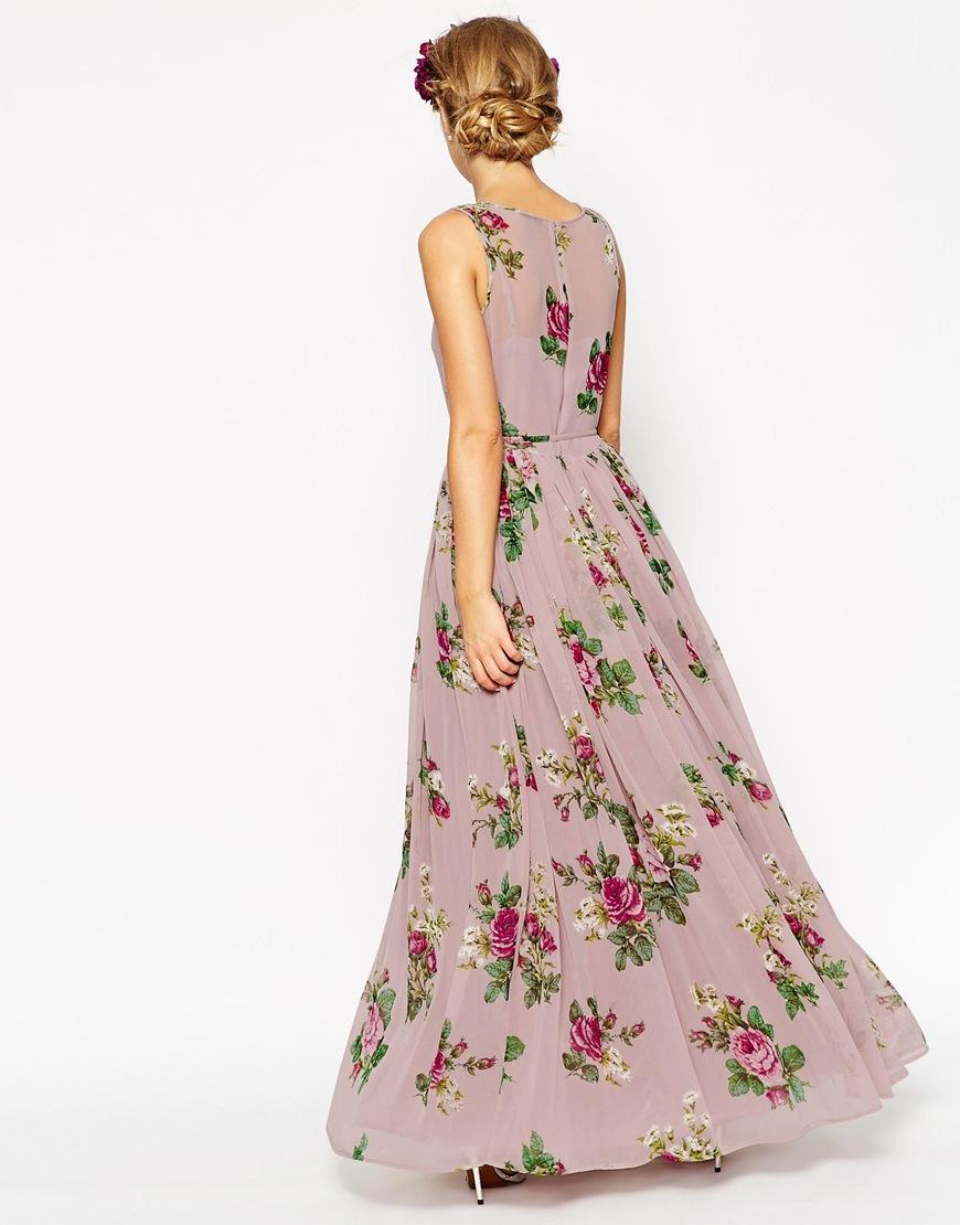 Lyst asos wedding lilac floral super full maxi dress for Maxi dress at wedding