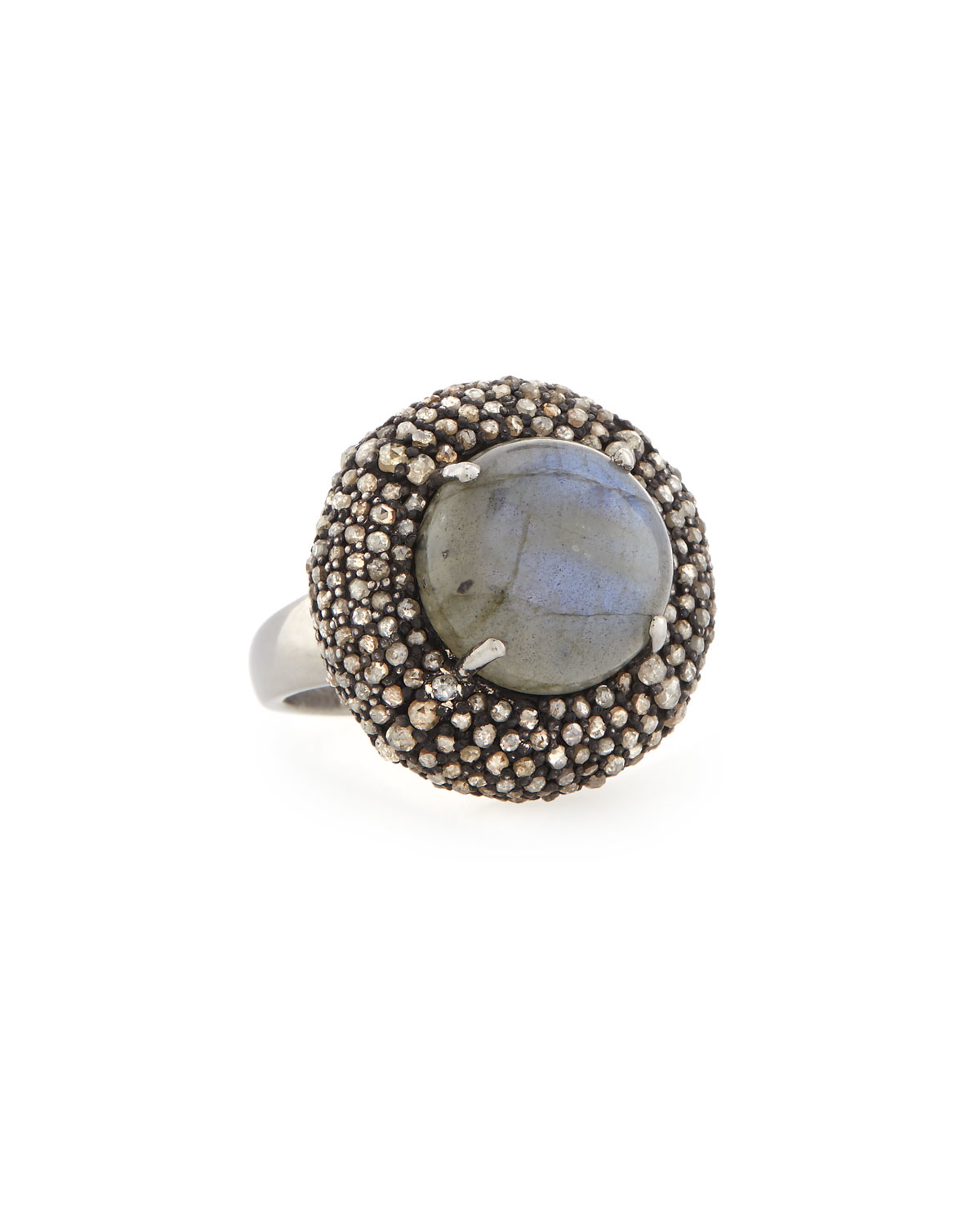 Bavna Rectangular Labradorite & Diamond Ring, Size 7