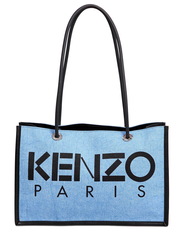 57396b3859a KENZO Kanvas Denim & Leather Tote Bag in Blue - Lyst