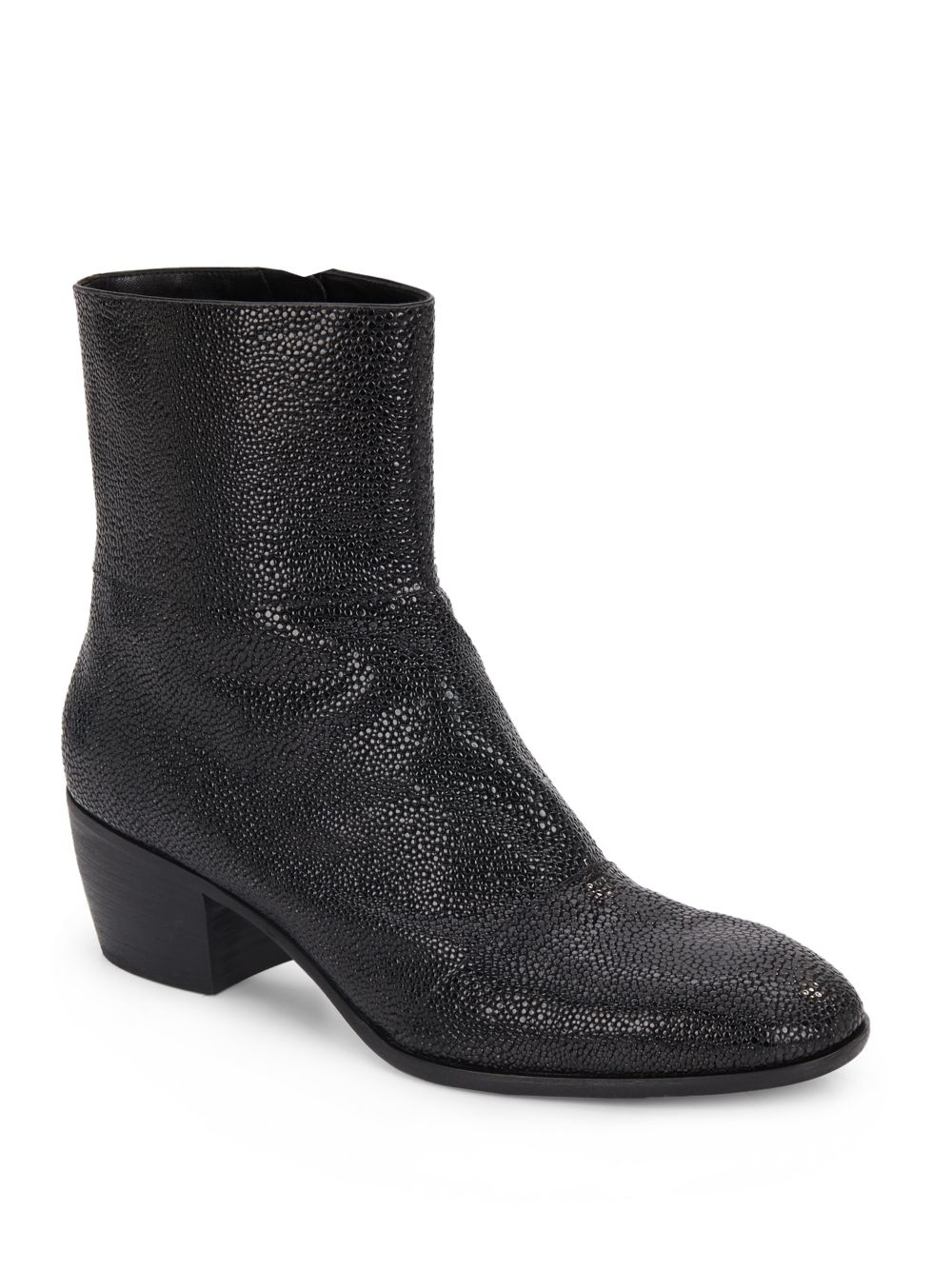 giuseppe zanotti embossed leather boots in black for
