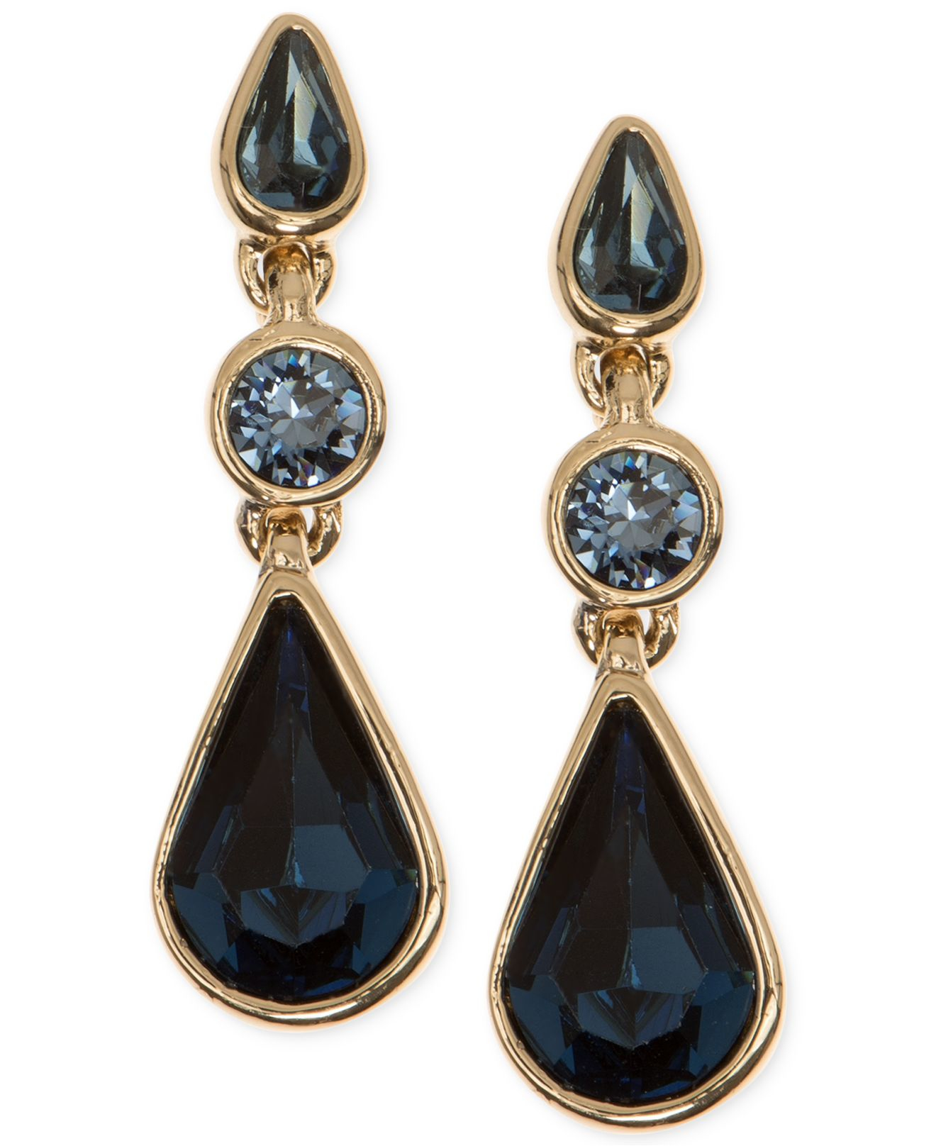 givenchy gold tone blue and teardrop