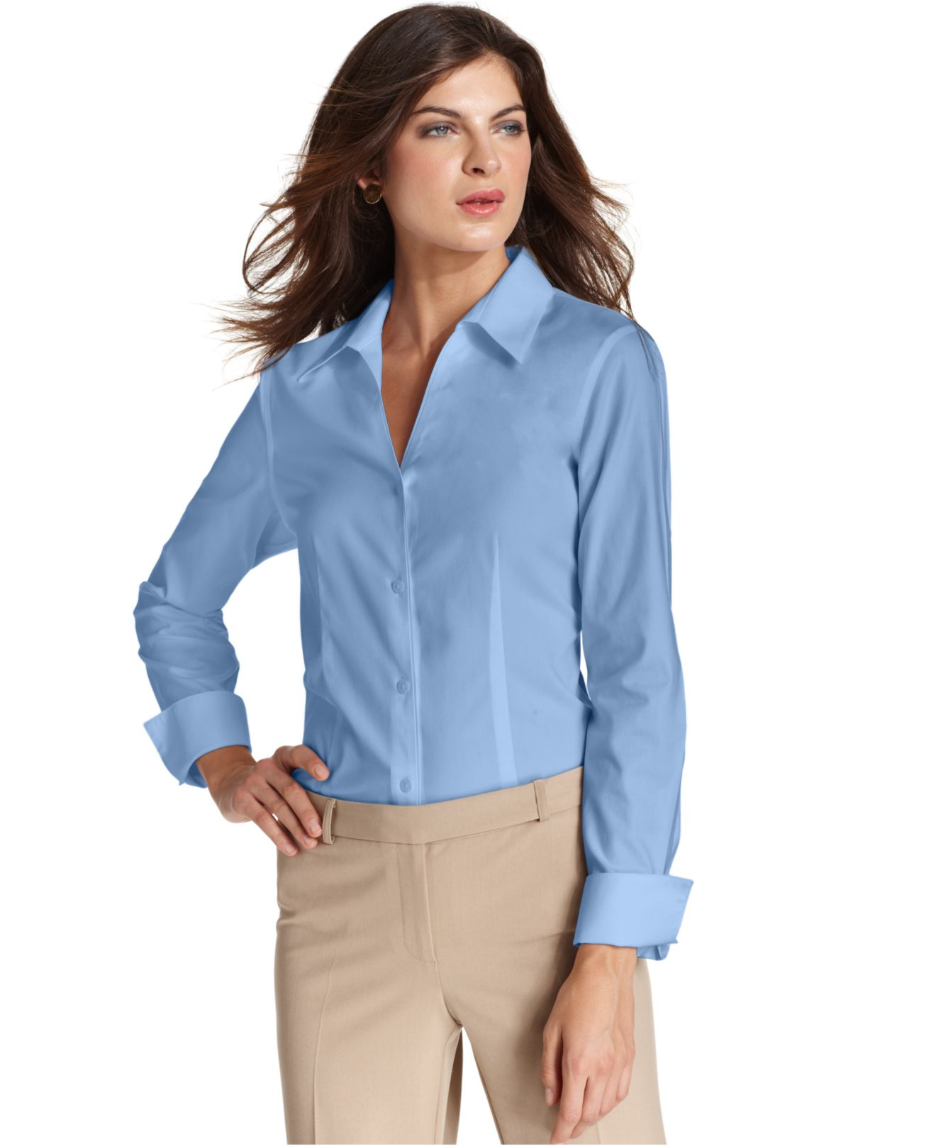 Jones new york long sleeve wrinkle resistant shirt in blue for New york and company dress shirts