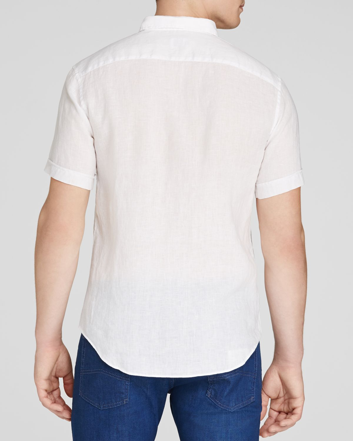 Lyst Armani Button Down Shirt Classic Fit In White For Men