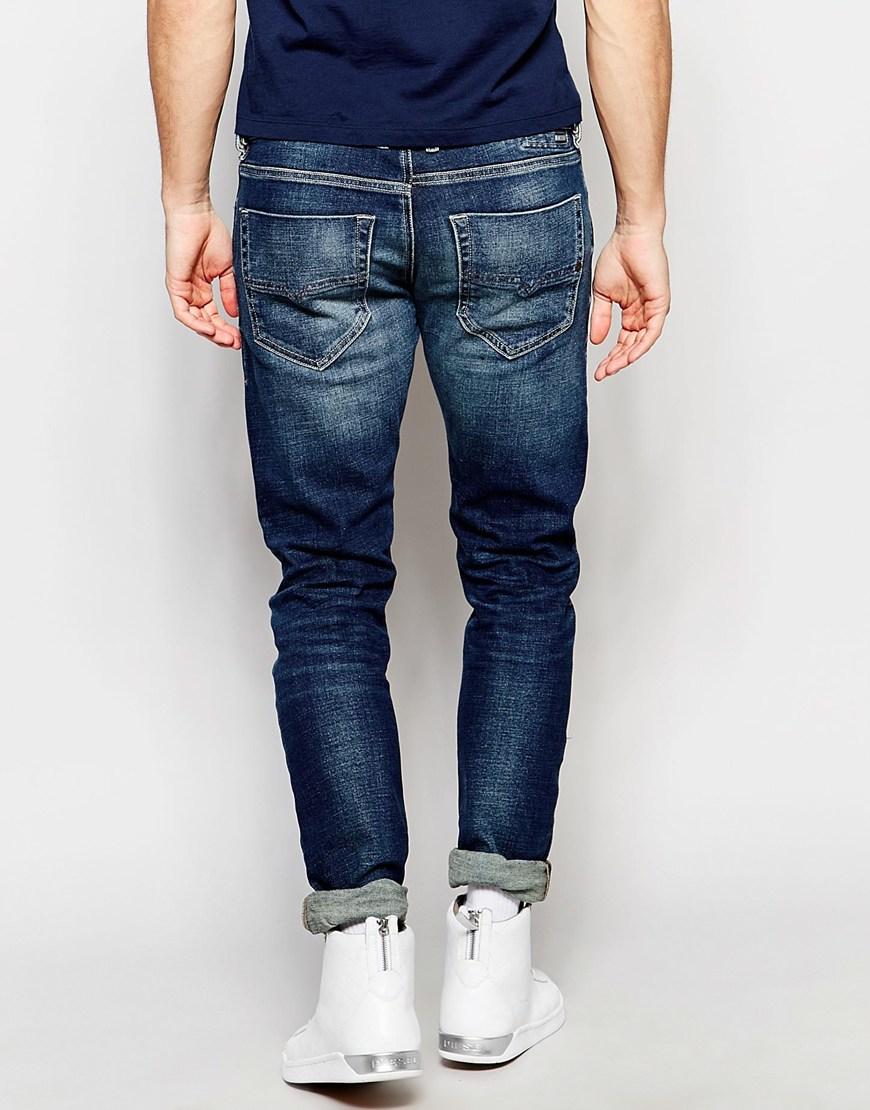 ed5cbfd1 DIESEL Jeans Tepphar 850k Skinny Fit Stretch Dirty Dark Blue Wash in ...
