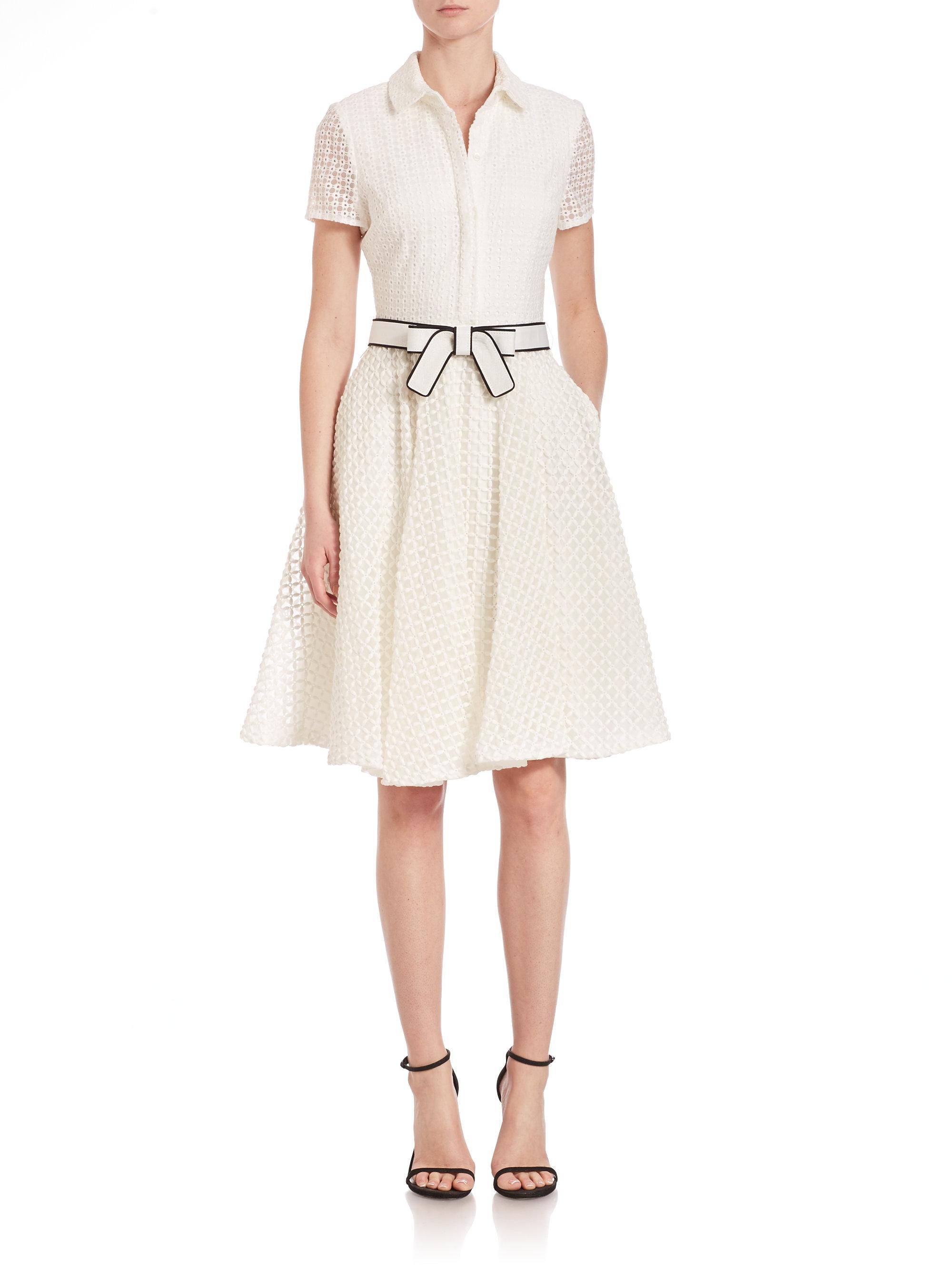 Badgley mischka short sleeve belted shirt dress in white for Short sleeve white dress shirt