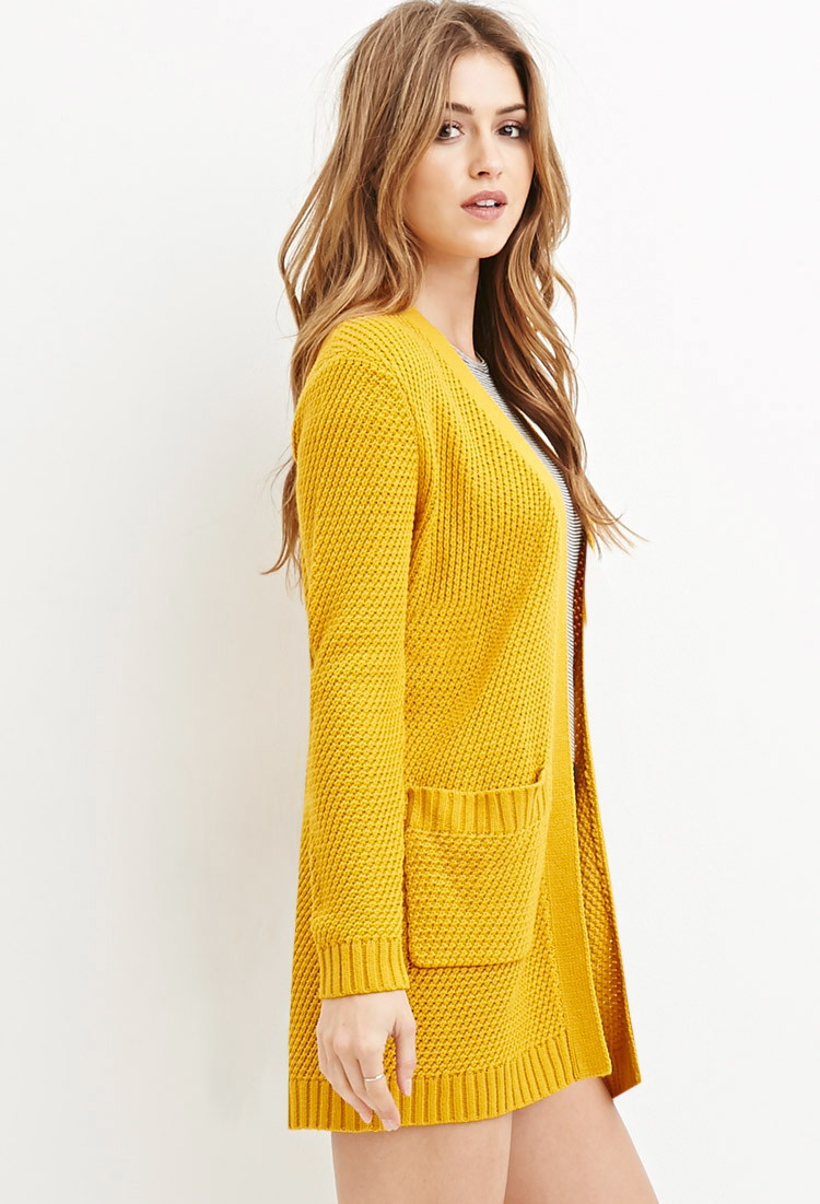 Forever 21 Waffle Knit Cardigan in Yellow | Lyst