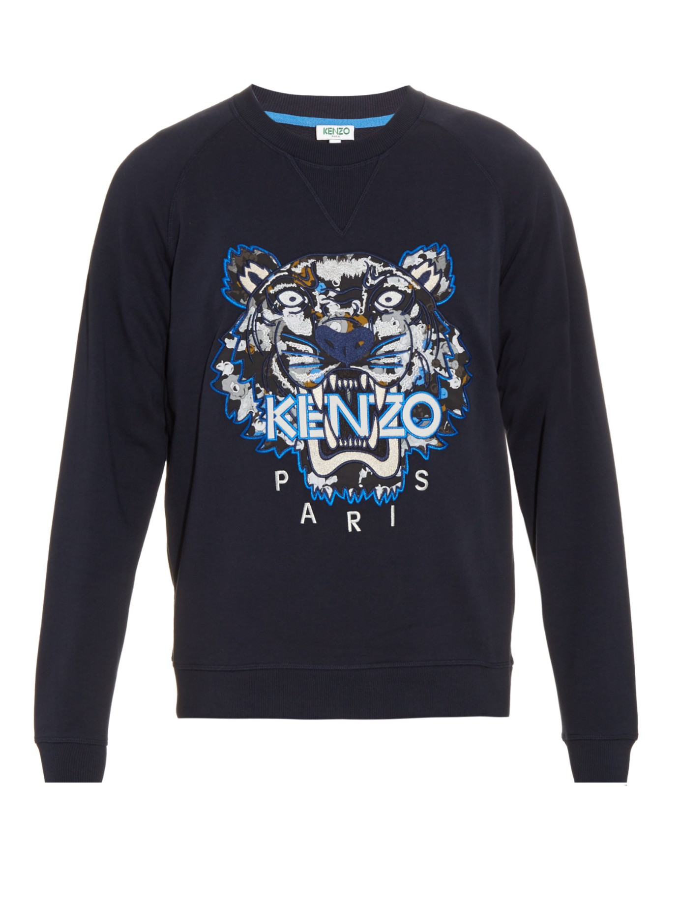 ea6727c0c KENZO Tiger-head Embroidered Sweater in Blue for Men - Lyst
