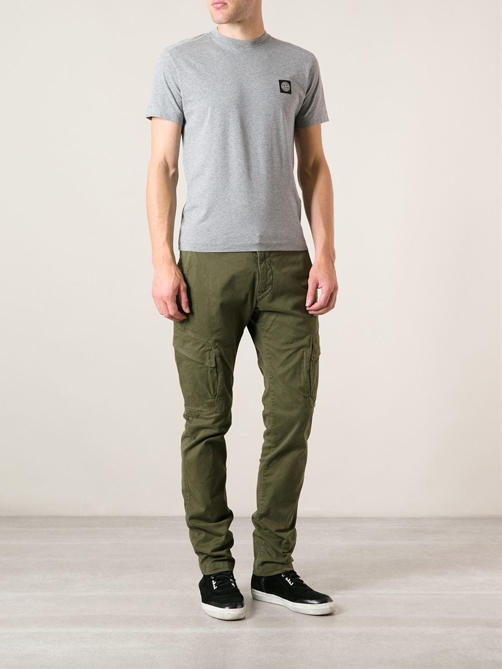 Lyst - Stone Island Skinny Cargo Trousers in Green for Men
