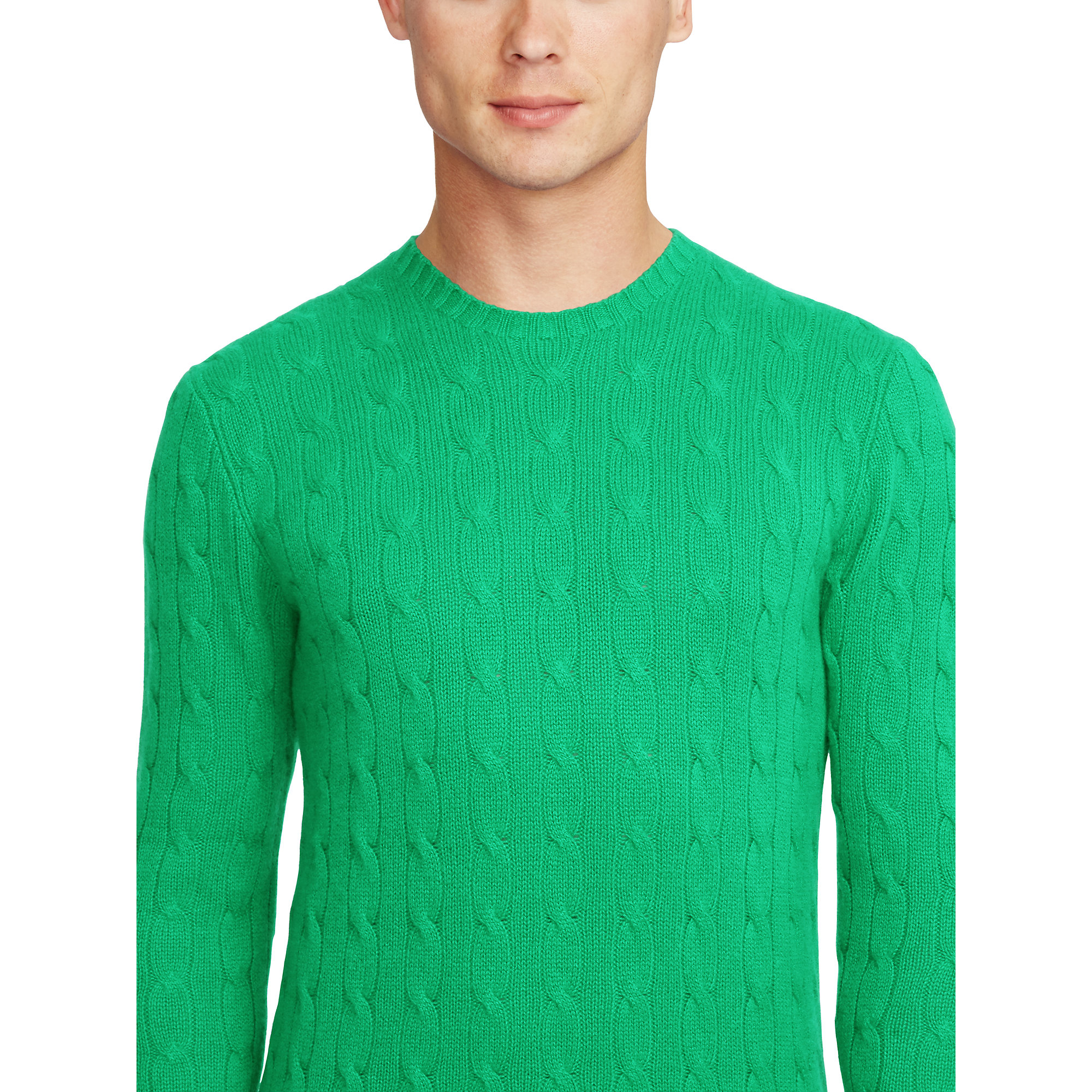 a3a115c513bd75 Lyst - Polo Ralph Lauren Cable-knit Cashmere Sweater in Green for Men