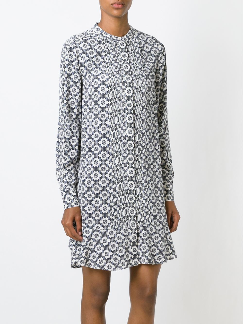 tory burch printed shirt dress in blue lyst
