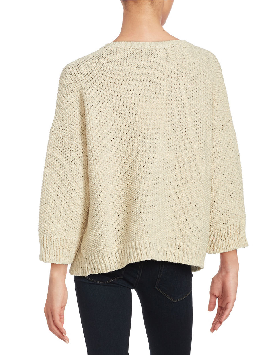 Eileen fisher Waffle Knit Loose-fit Sweater in Natural Lyst