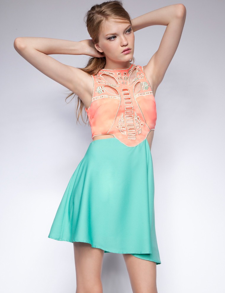 Lyst Pixie Market Coral And Teal Cutout Dress In Pink