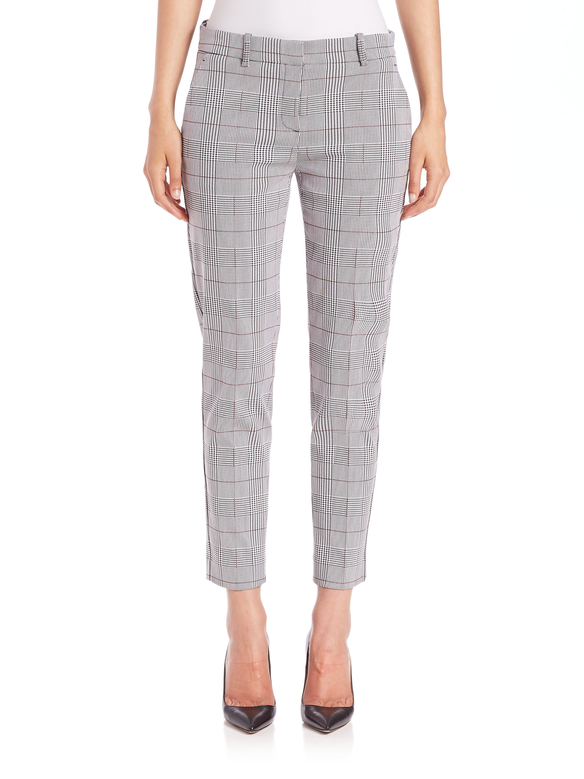 Theory Treeca Brant Check Plaid Pants In Black Lyst