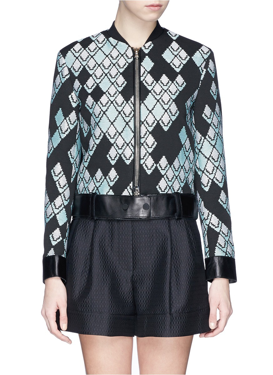 3 1 phillip lim leather belt jacquard jacket lyst