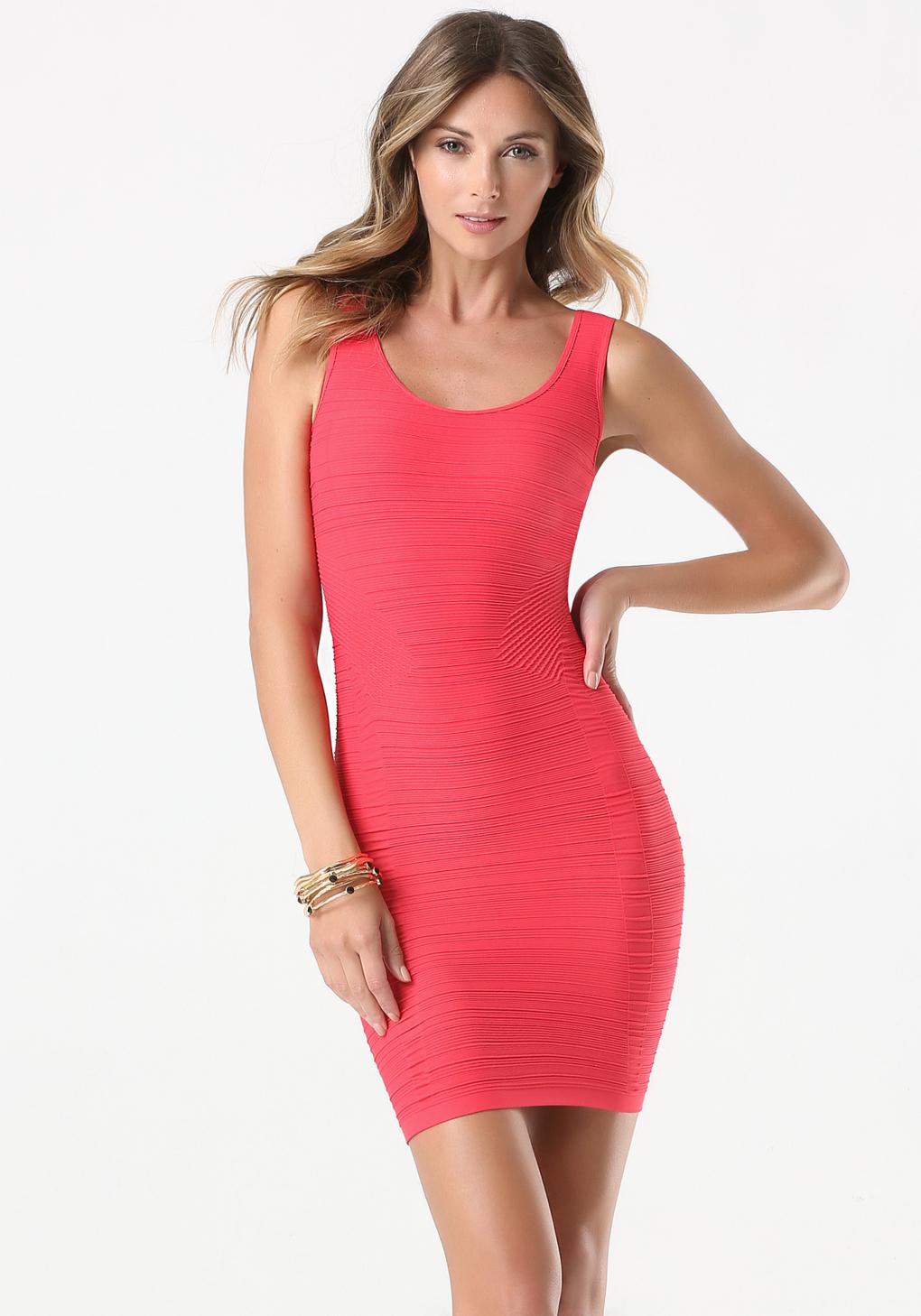 lyst bebe textured tank dress in pink. Black Bedroom Furniture Sets. Home Design Ideas