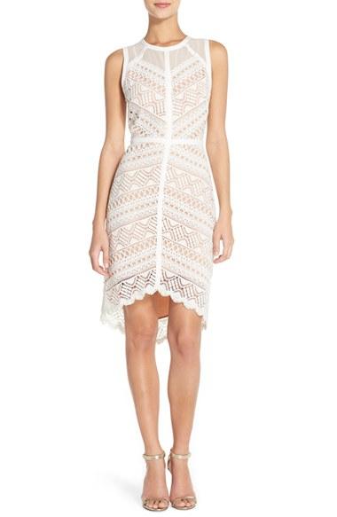 0f7dda011ba86 Lyst - Adelyn Rae Lace High low Sheath Dress in White