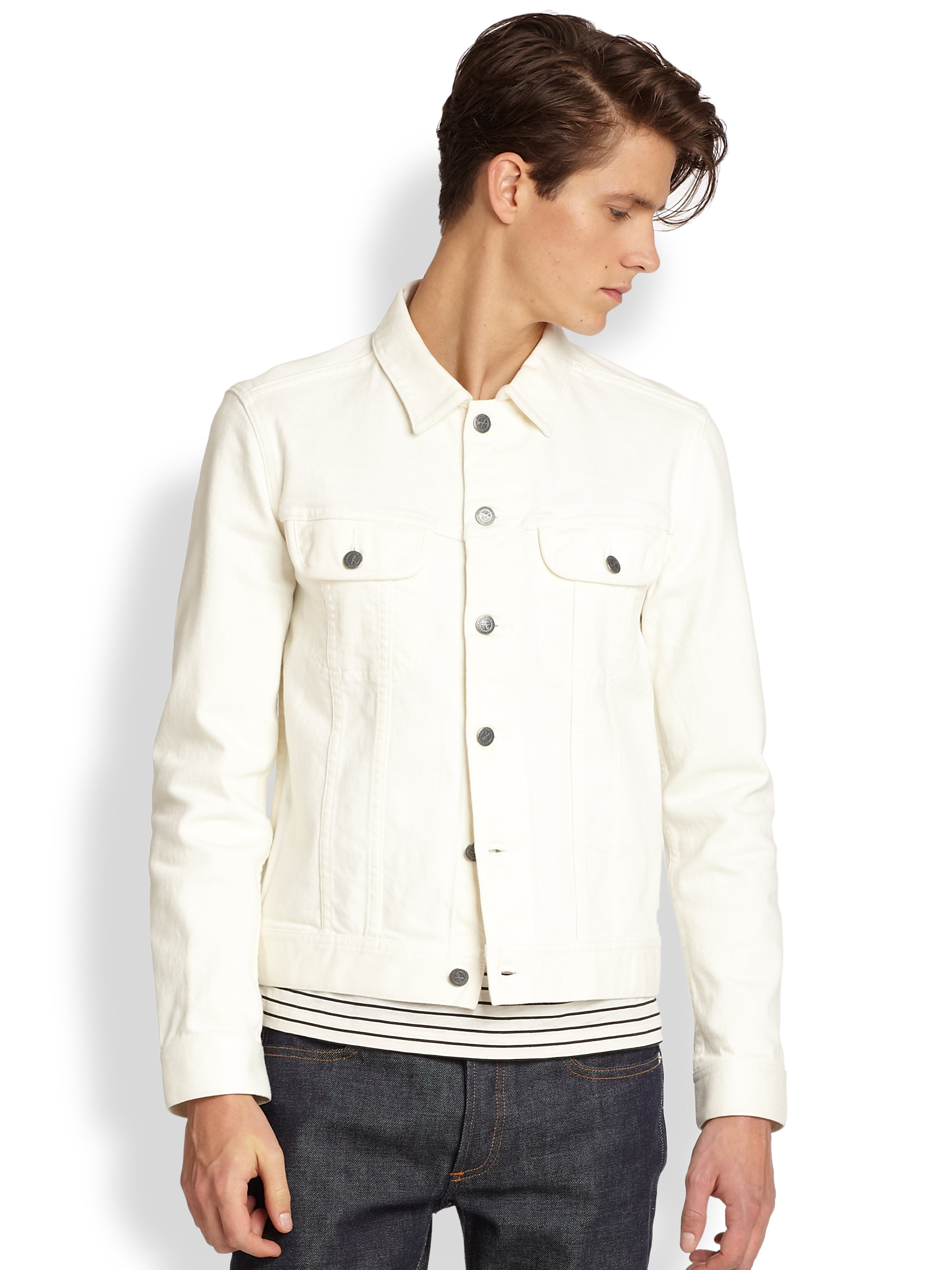 A.p.c. Denim Jacket in White for Men | Lyst