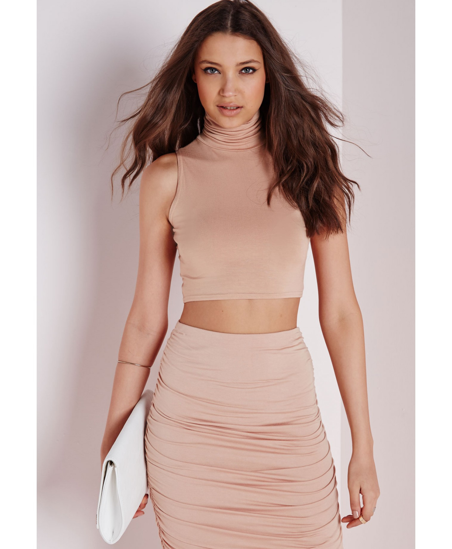 4aa7c12f64 Lyst - Missguided Sleeveless Roll Neck Crop Top Nude in Pink