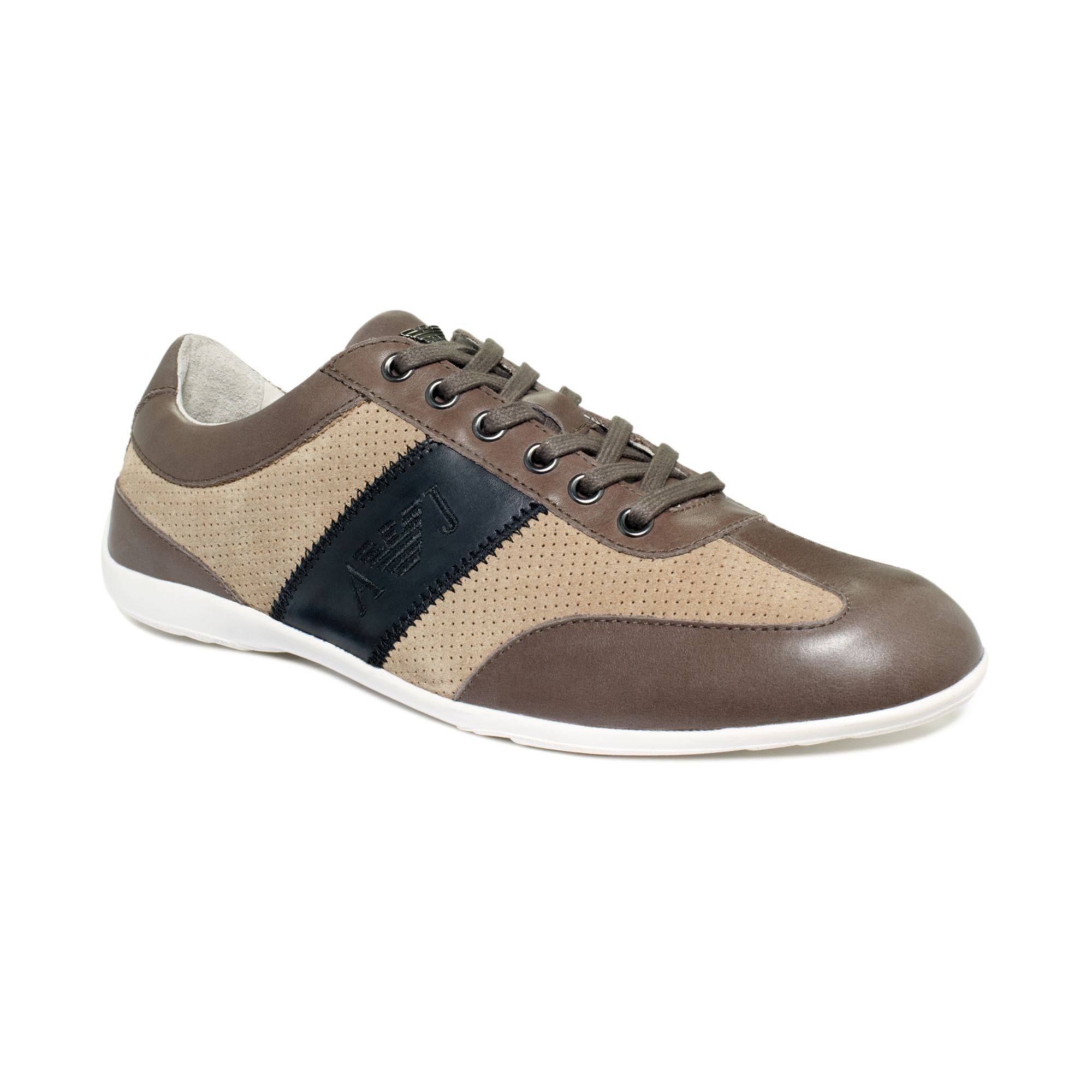 armani dress casual sneakers in brown for lyst