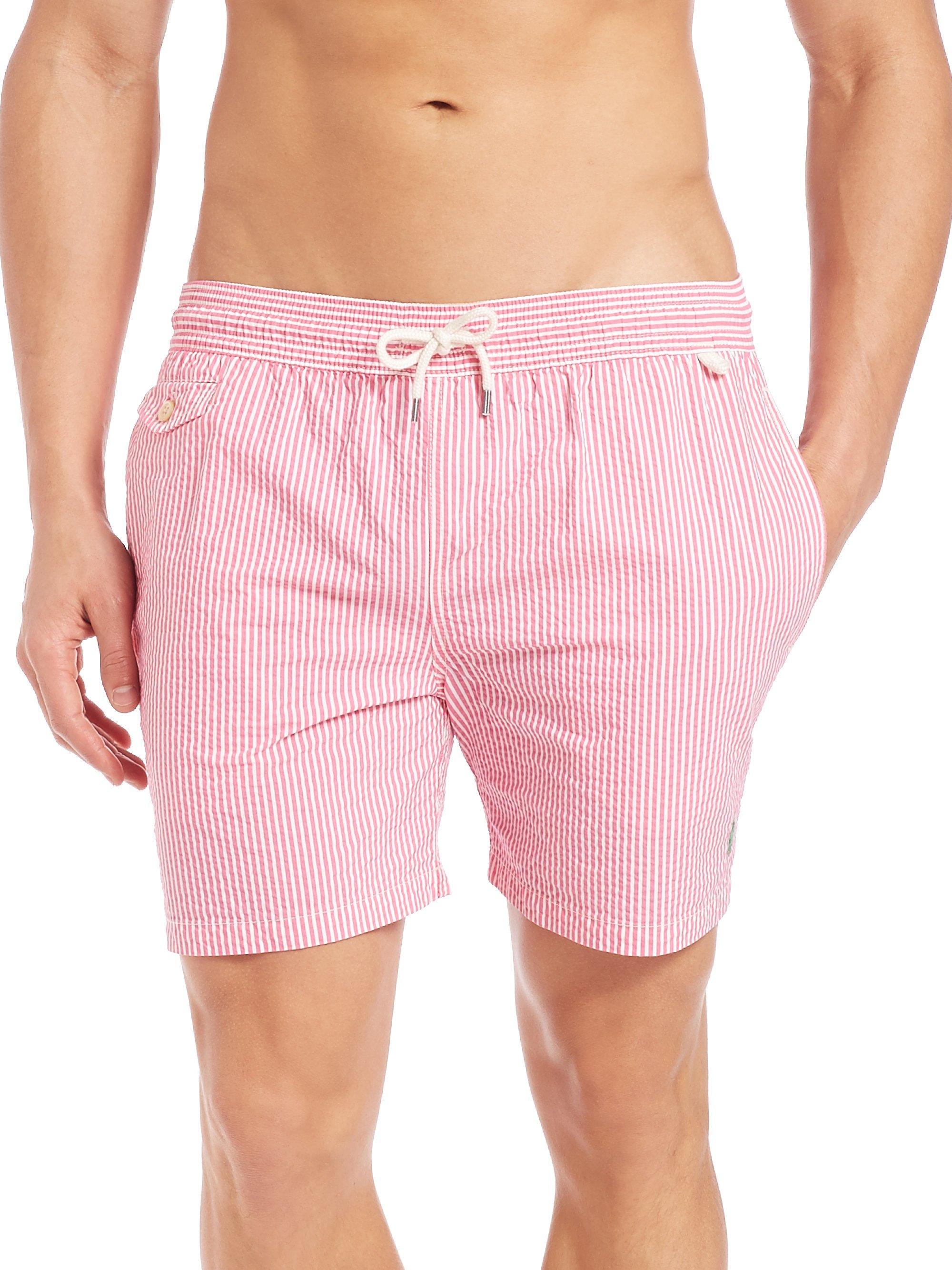 691f4e844c ... sweden lyst polo ralph lauren seersucker traveler swim shorts in pink  for men efa56 5fc23