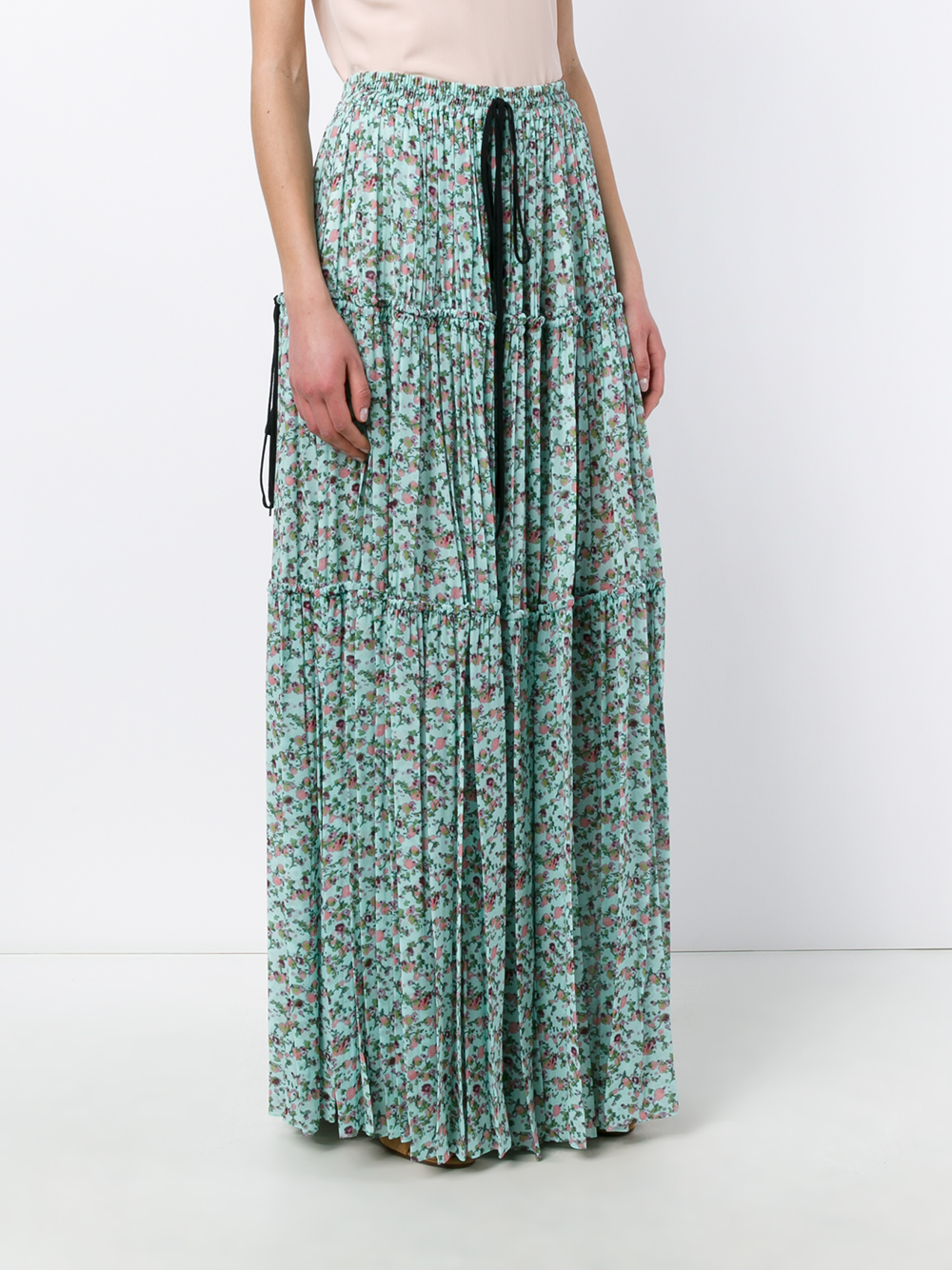 chlo 233 pleated floral print maxi skirt in blue lyst