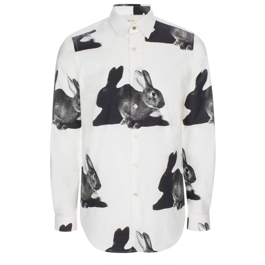 Lyst Paul Smith Mens Slim Fit White Rabbit Print Cotton Shirt