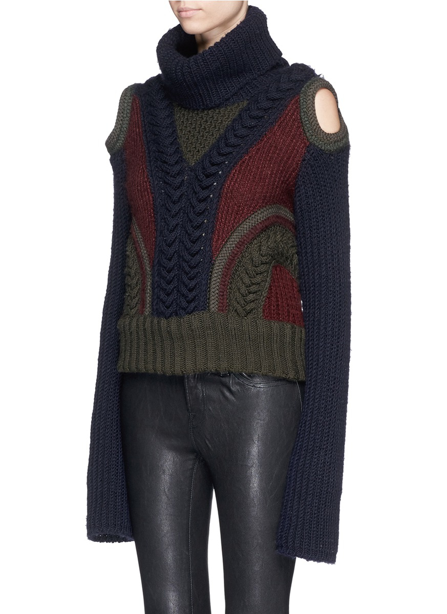Alexander mcqueen Cable Knit Cold Shoulder Turtleneck Sweater in ...