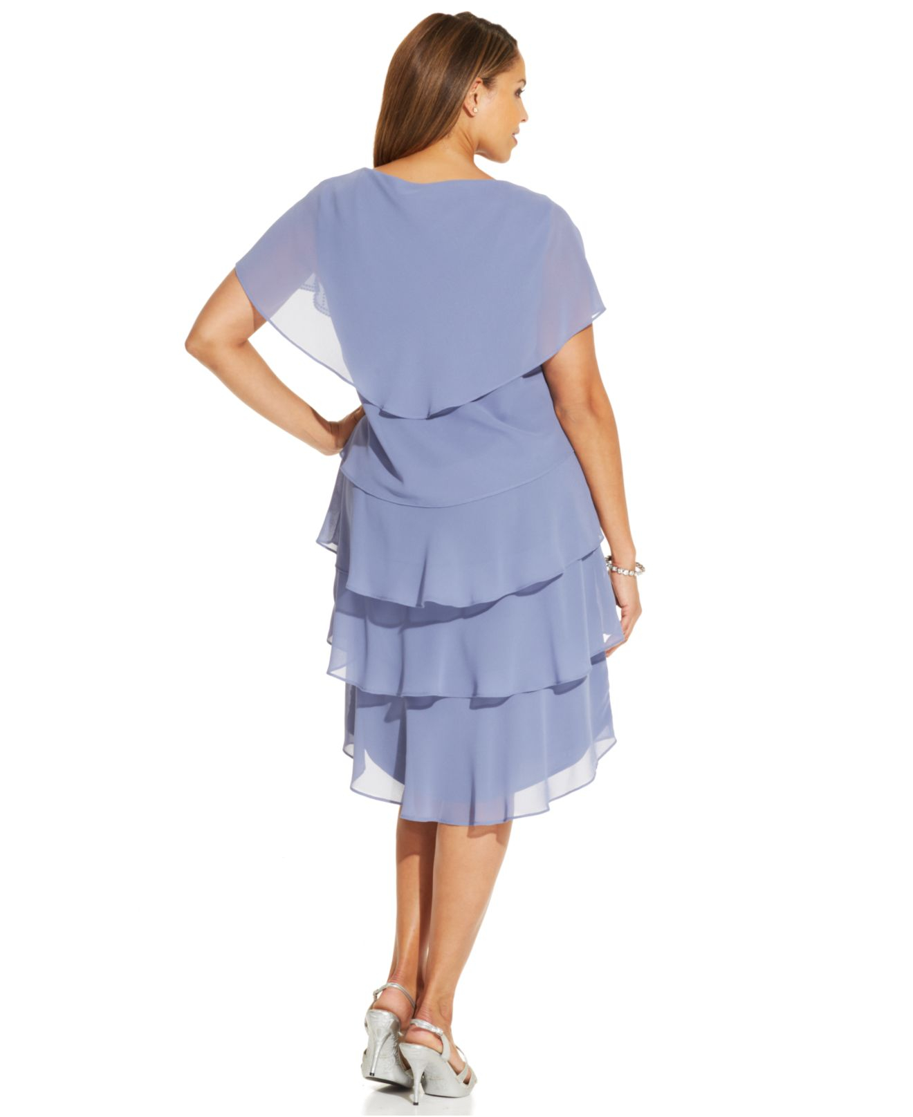 Lyst Patra Plus Size Embellished Tiered Chiffon Dress In Blue